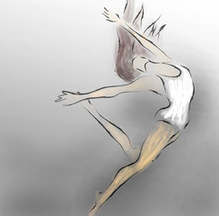 Modern Ballet Dancer. Ballerina watercolor