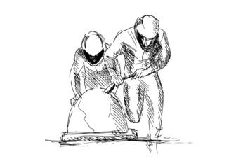 hand sketch bobsleighers