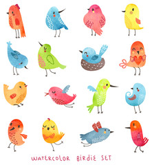 Watercolor vector birds set