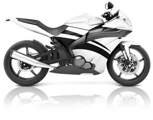 Motorcycle Motorbike Bike Rider Contemporary White Concept