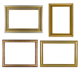Set of golden frame vintage isolated on white background.