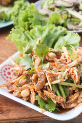 Herb salad with deep fried fish and shrimp (Thai fusion  food)