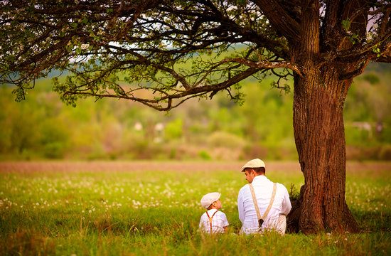 father and son sitting under the tree on spring lawn