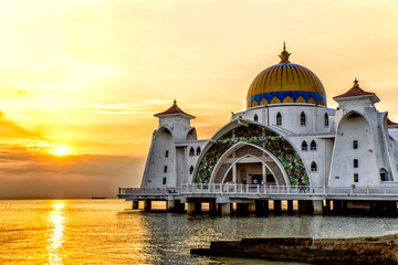 Sunset over Masjid selat Mosque in Malacca Malaysia