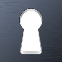 Keyhole in a metal door. Vector