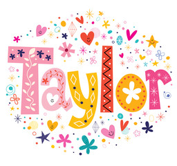 Taylor girls name design decorative lettering type