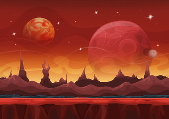 Fantasy Sci-fi Martian Background For Ui Game With Mountains