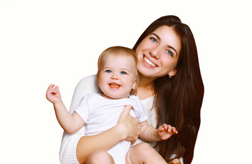 Portrait of happy smiling mother and child together having fun