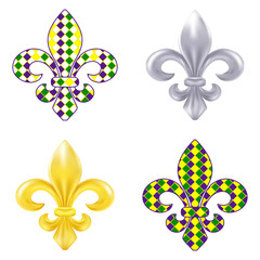 Set of fleur de lis Mardi Gras illustration