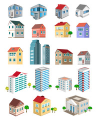 Set of 3d detailed buildings with different types of perspective