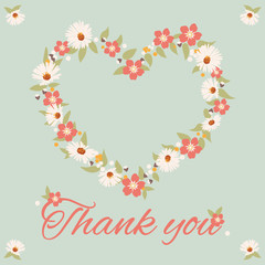 vintage thank you card, flower vector