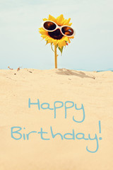 greeting card background - sunflower at beach - happy birthday