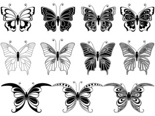 Set of eleven ornamental butterflies