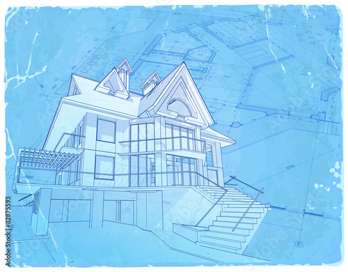 Architecture blueprint house vector illustration stock image architecture blueprint house vector illustration malvernweather Images