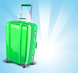Green suitcase for travel on a blue background