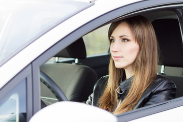 Beauty business woman in white car