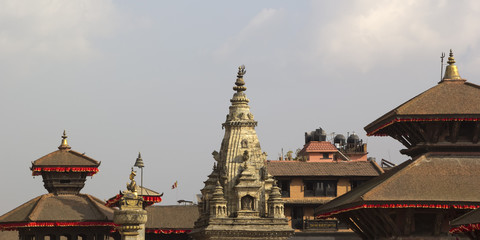 Roofs of pagoda and temple on the Durbar square in Bhaktapur, Ne