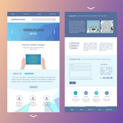 modern one page website template design with blurred background