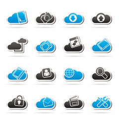cloud services and objects icons - vector icon set