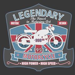 British Motorcycle T-shirt Design, vector illustration