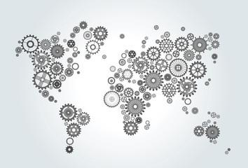 Spoed Foto op Canvas Wereldkaart world map composed of gears, wheels on gradient background