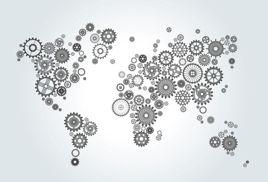 world map composed of gears, wheels on gradient background