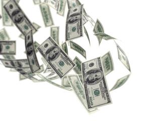 falling money isolated on white background