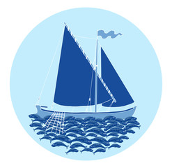 Round design background with boat and fish catch on blue