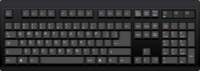 Black qwerty keyboard with US english layout