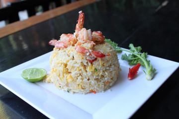 Thai food fried rice with shrimp
