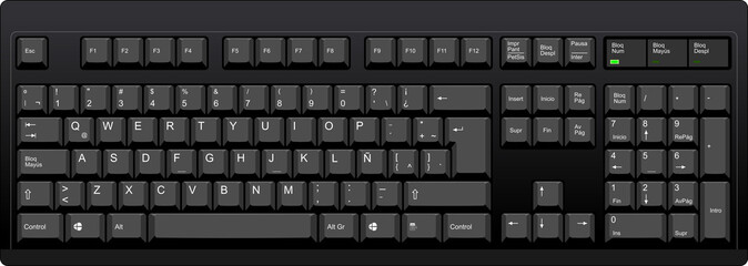 Black qwerty keyboard with latin american spanish layout Wall mural