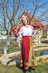 Woman in Russian national sundress