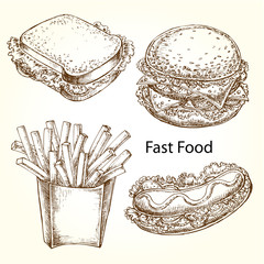 hand drawn illustration fast food set