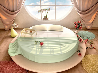 3d illustration of interior with a round bed and a round window