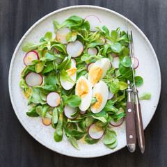 Lamb's Lettuce Salad with Egg and Radishes