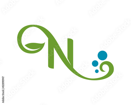 swirly letter n logo template stock image and royalty free vector
