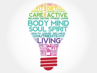 Body Mind Soul Spirit bulb word cloud, health concept