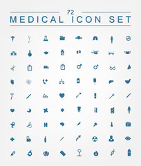 72 medical icons for web, internet, computer, mobile apps, inter