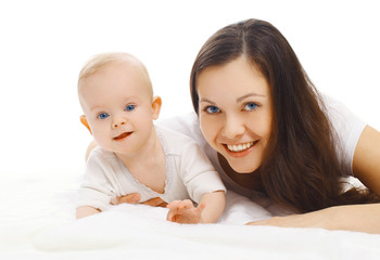 Portrait of happy young smiling mom and sweet baby together