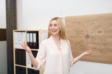 junge mitarbeiterin präsentiert ideen am chart