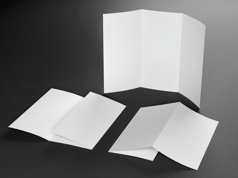Render of Blank Template of Trifold Leaflet A4 Size