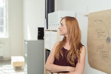 zufriedenen frau steht vor einem chart im büro
