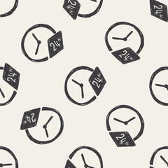 time doodle seamless pattern background