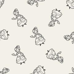 princess doodle seamless pattern background