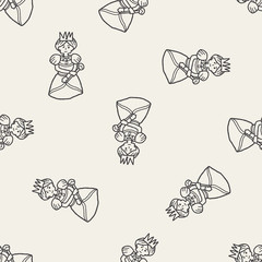 queen doodle seamless pattern background