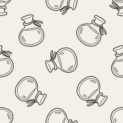 potion doodle seamless pattern background