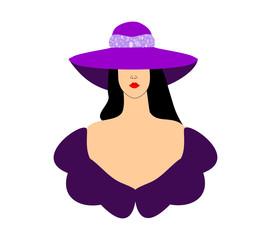 Fashion women girl in purple hat