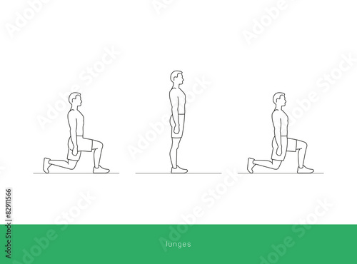 Fitness Icon Lunges Workout Vector Design Stock Image And Royalty