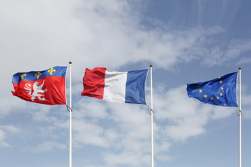 Flags of Lyon, France and Europe in the city of Lyon