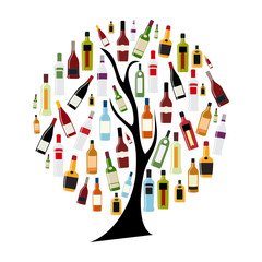 Vector Illustration of Silhouette Alcohol Bottle on Tree Concept